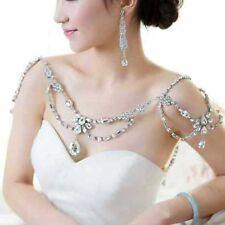 Bridal crystal Rhinestone shoulder deco Bra Strap Halter necklace NR481