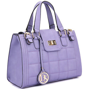 Women Handbag Quilted Satchel with Buckled Details