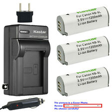 Kastar Battery Travel Charger for OEM NB9L Canon PowerShot ELPH 520 530 SD4500
