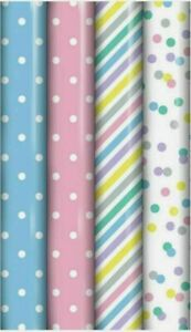 4 x 3m Rolls Birthday Baby/ Wedding / Gift Wrapping Paper Pastel 29031