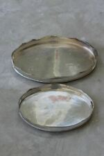 More details for pair pierced silver plated drinks cocktail serving trays