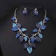 Blue Leaves Vine Rhinestone Statement Necklace Drop Earring Jewelry Set Gift