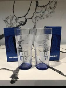 2x Budweiser Bud Light Pint Glass 20oz Blue Base Nucleated In Gift Box