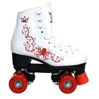✅24Hr DELIVERY ✅Kingdom GB Vector QUAD ROLLER SKATES Retro White & Red Disco