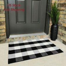 Black and White Buffalo Plaid Check Door Mat Rug Farmhouse Checkered Home Decor