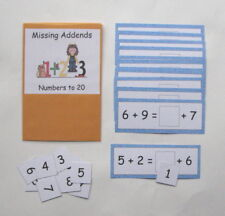 Teacher Made Math Centers Resource Game Missing Addends Numbers to 20