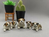 French Bulldog family handmade ceramic 5 pieces, brown and white