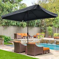 Metal Patio Umbrella 6 Ribs Sun Shade Market Table Umbrella Tilt with Crank