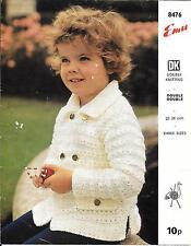 "Emu 8476 Vintage Knitting Pattern Boys Jacket DK or Chunky yarn, 22-26"""