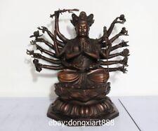 16 China Buddhism Pure Bronze Maha Cundi Bodhisattva Kwan-yin Guanyin Sit Statue
