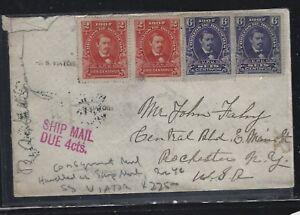 HONDURAS (P2604B)  1910 2C PR+6C PR SHIP MAIL DUE 4C   TO USA, CONSIGNMENT MAIL
