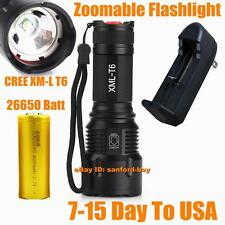 CREE XM-L T6 LED Zoomable 2500 Lumen 26650 Rechargeable Battery Flashlight Torch