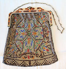 Antique Vintage Whiting & Davis MESH PURSE Enameled Frame & Multi-color Body