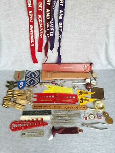Vintage Junk Drawer Lot Of 50 Patches Tokens Clay Pipe Ruler Felt Armbands Brass