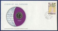 BARBADOS 25 CENTS 1979 UNC - COINS OF ALL NATIONS PNC COVER COIN & STAMP