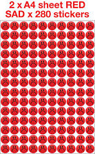 Kids Children's Teachers Reward 19mm SAD Face Stickers IN RED x 280