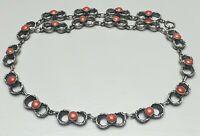 Massives, schweres 835 Silber Collier mit Korallen besetzt Art Deco 40er-60er J.