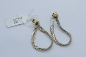 Vintage 1980s Tri-Color Gold Braid Hoop Earrings Italy 925 Silver New with Tags