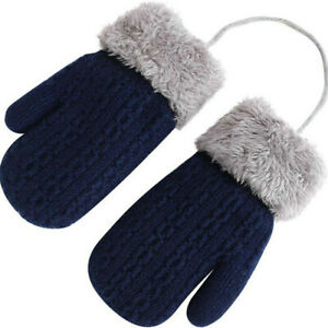 Pair Toddler Baby Boys Girls Winter Warm Knitted Gloves Mittens with Neck String
