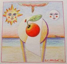 "Dimitris C. Milionis ""RED FRUIT SUN MOON"" Signed Colored Drawing Greek 2012"