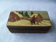 Vtg Russian Wood Folk Art Box, made in Soviet Union!  WINTER LANDSCAPE!  SMALL!