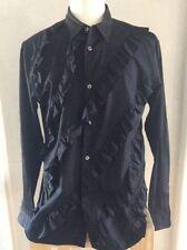 NWT Comme Des Garcon Size Large Mens Black Cotton Ruffles Shirt Barneys Designer