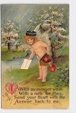 ANTIQUE VINTAGE VALENTINE'S DAY POSTCARD HEARTS CUPID ANGEL DELIVERING CARDS IN