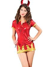 Sexy Hot 4 piezas Lentejuelas Diablo Disfraz Halloween CUERNO, COLA, Tridente,