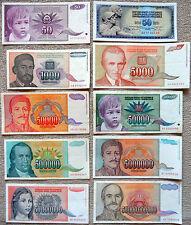 banknote lot G - Yugoslavia dinar - year 1992 -1994 - hyperinflation - civil war