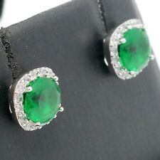 Antique Emerald Stud Earrings Women Engagement Jewelry Gift 14K Gold Plated