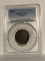 1828 CLASSIC HEAD HALF CENT 12 STARS GRADED XF40 BY PCGS..