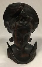 Vintage Balinese Stripped Ebony Carved Bust of a Lady with Bird in Her Hair