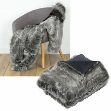 Luxury Soft Faux Fur Mink WOLF Bed Sofa Lounge Throw Blanket Runner 125x150cm