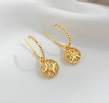 of David Half Hoop Detachable Drop Earring 925 Sterling Silver Gold Tone Cz Star