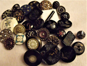 VICTORIAN BUTTON Mixed Lot (31) INLAID Enamelled BRASS Glass GORGEOUS! Incised