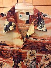 Vintage Waikiki Holiday Hawaiian Men's Brown Floral Polyester Camp Shirt L