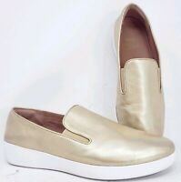 FitFlop Womens sz 11 Superskate Gold Metallic Leather Loafers Slip Ons Sneakers