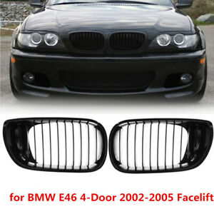 Gloss Black Front Kidney Grille Grill For BMW E46 3 Series 4-Door 2002-2005