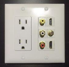 HDTV Wall Plate Duplex Power Outlet 3x RCA A/V 2x HDMI 1x F COAX 2 Gang White