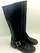 Vince Camuto Kallie Riding Boots Size 6.5M Black Leather Harness Knee High