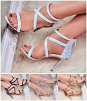 Womens Evening High Heels Party Sandals Glitter Strappy Stilettos Shoes Size