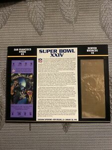 22KT GOLD SUPER BOWL 24 XXIV 49ERS VS BRONCOS OFFICIALLY AUTHORIZED NFL TICKET