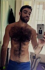 Shirtless Muscular Male Beefcake Dark Hairy Chest Abs Beard Hunk PHOTO 4X6 F659