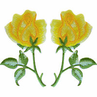 Pair of Yellow Rose Flower Patches Embroidered Iron On Sew On Roses Patch Badge