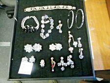 Vintage RHINESTONE Jewelry Lot Necklace Earrings Bracelet Ring Jewelry 072701