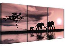 Blush Pink African Sunset Elephants Canvas Art Print - 3 Set - 125cm Wide - 3361