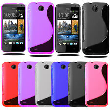 S Line Wave Silicone Gel Case Phone Cover For HTC Desire 300 + Screen Protector