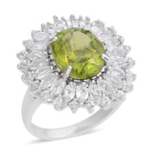 Peridot, Topaz Platinum Over Sterling Silver Floral Cocktail Ring (Size 8)