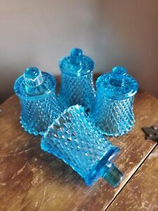 Vintage aqua blue diamond point glass peg votive sconce candle holder Set of 4