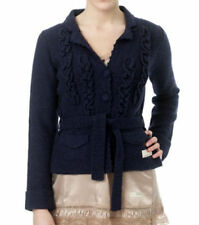 ODD MOLLY LAMBSWOOL BLEND KNITTED FRONT RUFFLES BELTED JACKET#506 TENFOLD-1